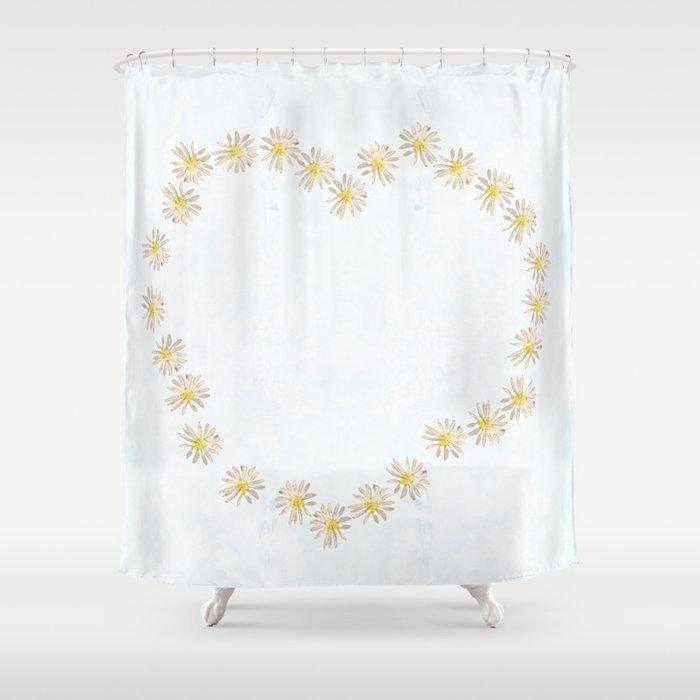 Daisy Chains And Hearts Shower Curtain By Anipani