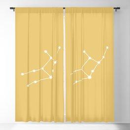 Virgo Zodiac Constellation - Golden Yellow Blackout Curtain