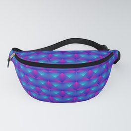 Chaotic pattern of blue rhombuses and purple triangles in a zigzag. Fanny Pack