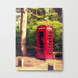 Telephone box in the forest Metal Print