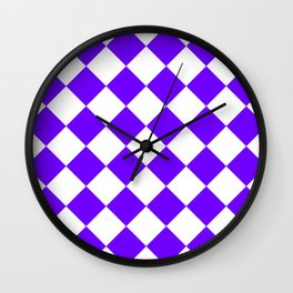 Large Diamonds - White and Indigo Violet Wall Clock