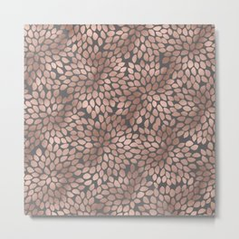 Rosegold flowers- abstract floral elegant pattern on grey background Metal Print