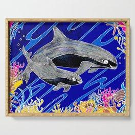 Vaquita Porpoises In Sea life Wreath Serving Tray