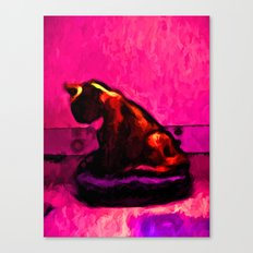 Cat and a Hot Pink Wall Canvas Print