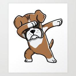 Funny Boxer Dog Dabbing Art Print