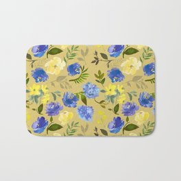 Modern lilac yellow green watercolor hand painted floral Bath Mat