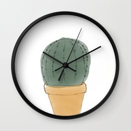 Round Cactus Houseplant Wall Clock