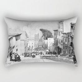 Old Time Godzilla San Francisco Earthquake Rectangular Pillow