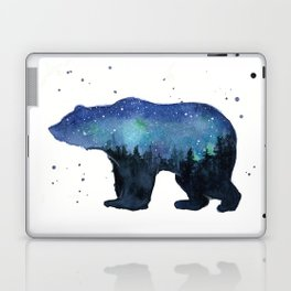 Forest Bear Silhouette Watercolor Galaxy Laptop & iPad Skin