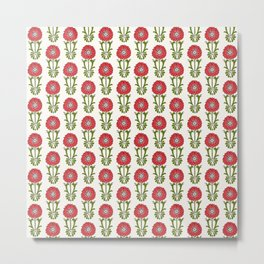 Dot Floral in Red Metal Print