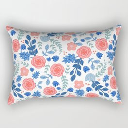 Floral Pattern White Backgrund Rectangular Pillow