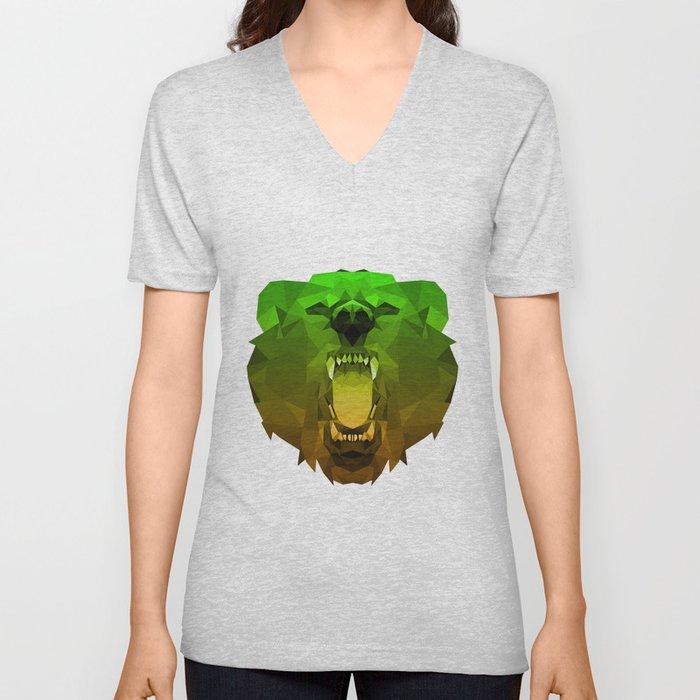 Bear | Green Polygon Triangle Abstract Artwork Unisex V-Neck