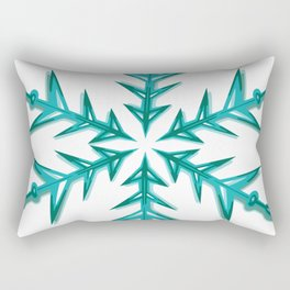 Minimalistic Aquamarine Snowflake Rectangular Pillow