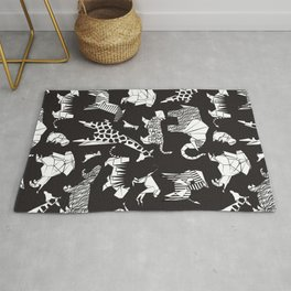 Origami safari animalier // black background white animals Rug