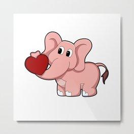 Elephant with Heart Metal Print