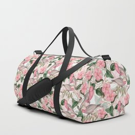 Vintage & Shabby Chic - Pink Tropical Birds And Flowers Duffle Bag