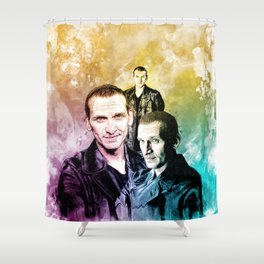 Inspired by Christopher Eccleston the ninth doctor Who in water color Shower Curtain