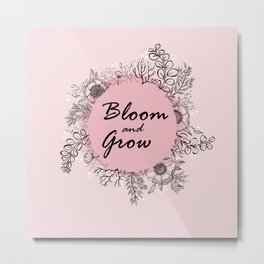 Bloom and Grow - Wreath Metal Print