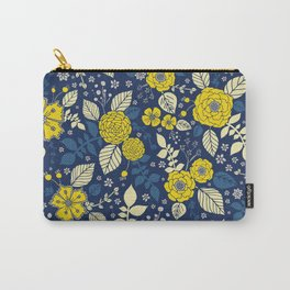 Yellow & Blue Floral Pattern Carry-All Pouch