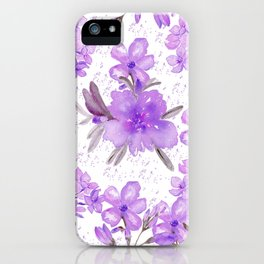 Watercolor lavender lilac brown modern floral iPhone Case