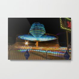Kansas Fair Ride at night Metal Print