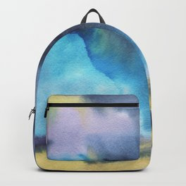 Watercolor landscape yellow field Backpack