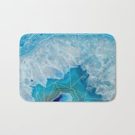 light blue agate with rose gold triangle pattern Bath Mat