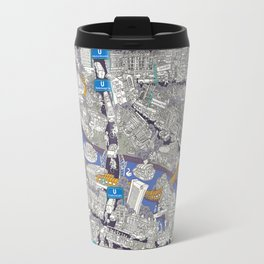 Illustrated map of Berlin-Mitte. Blue Travel Mug