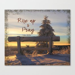 Rise up and Pray Verse Quote Snow Sunrise Canvas Print