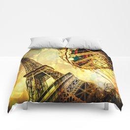 pariS. : Eiffel Tower & Ferris Wheel Comforters