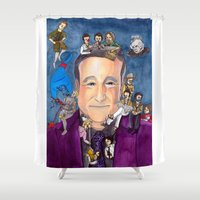 robin williams Shower Curtains featuring Robin Williams  by Aviva Bubis Art and Stuff