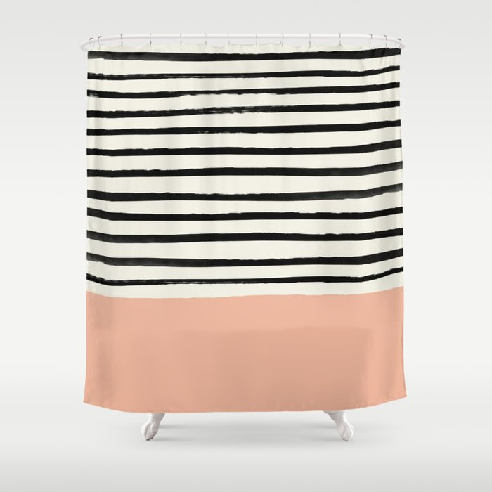 Peach x Stripes Shower Curtain