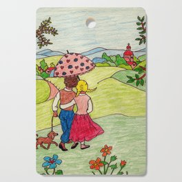 Loving couple in spring Cutting Board