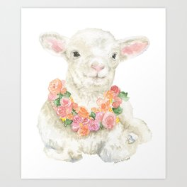 Baby Lamb Floral Watercolor Farm Animal Art Print