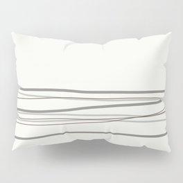Metropolitan Light Gray, Cinder Dark Gray, Mustang Brown 2111-30 Scribble Lines Snowfall White Pillow Sham