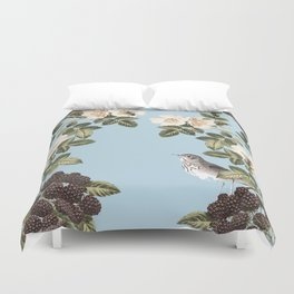 Birds and the Bees Blue Duvet Cover