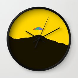 Colorful Umbrella On A Black Mountain In A Yellow Background - #society6 #buyart Wall Clock
