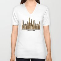 pittsburgh V-neck T-shirts featuring Pittsburgh skyline vintage by bri.buckley
