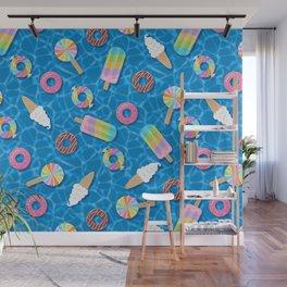 Sweet Treats Pool Floats Pattern – Blue Wall Mural