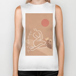 Woman in Nature Illustration Biker Tank