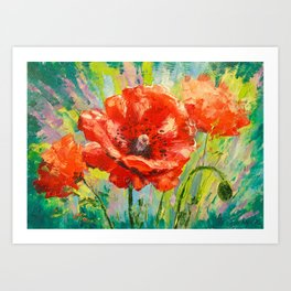 Blooming poppy Art Print