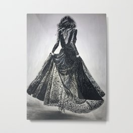Lace Dress in Black and White Metal Print