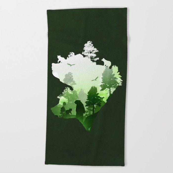 Green Bears Beach Towel