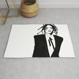 Rihanna Black and White Rug