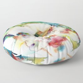 AYN RAND - watercolor portrait Floor Pillow
