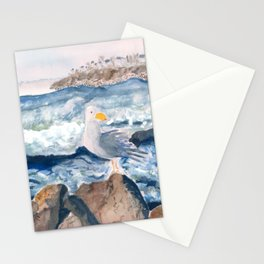 A Watercolor Seagull Named Fred (on Second Cliff in Scituate) Stationery Cards
