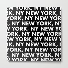 New York, NY Graphic Pattern 121 Black and White Metal Print