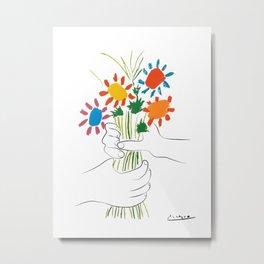 Picasso le bouquet colorful floral positive wall art, anti war print, room decor, picasso Metal Print