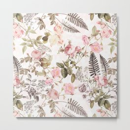 Vintage & Shabby Chic - Blush Roses and Fern Leaf Metal Print