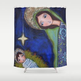 Nativity Star by Flor Larios Shower Curtain